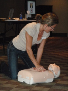 CPR showing chest compressions