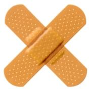 2 Crossed adhesive dressings