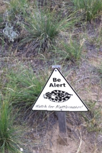 Sign warning of rattlesnakes